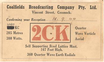 image of Radio Station 2CK  Cessnock QSL Card 1944