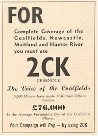 image of Radio Station 2CK  ad 1939
