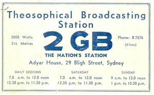 Radio Station 2GB listener card