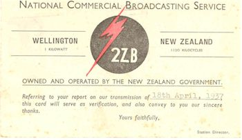 image of Radio Station 2ZB QSL