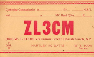 image of QSL card issued by Bill Toon (ZL3CM)