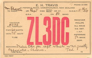 image of QSL card issued by Ted Travis (ZL3CM)
