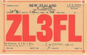 ZL3FL lists the countries 'worked' in this QSL for 7260kc