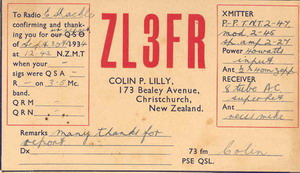 Colin Lilly (ZL3FR) issued this thick QSL card for his 40 watts broadcasts