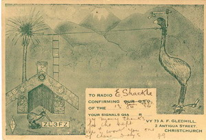A moa and a cabbage tree provide antenna supports in this 1934 QSL card from ZL3FZ