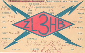 Example of an art deco influenced design from ZL3HB in this 1934 QSL card