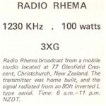 image of 3XG Radio Rhema QSL
