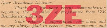 image of 3ZE Greymouth, listener card