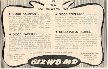image of Radio Station 6IX Ad 1952