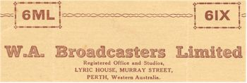 image of Radio Station 6IX and 6ML Perth confirmation letter