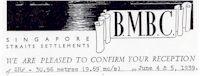 image of British Malaya Broadcasting Corporation QSL 1939.