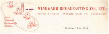image of Hawaii Radio Station KANI letterhead detail