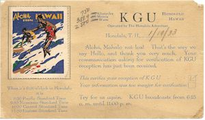 Radio Station KGU QSL, 1933 to Saskatoon