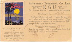 Radio Station KGU QSL, 1933 to Christchurch