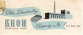 image of Hawaii Radio Station KHON letterhead