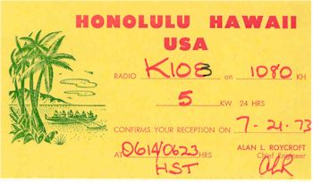 image of Hawaii Radio Station KIOE QSL
