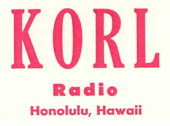 image of Hawaii Radio Station KORL letterhead