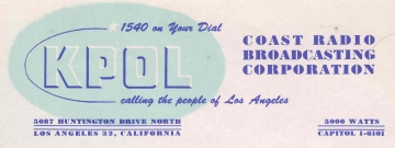 QSL image of KPOL Los Angeles 1952