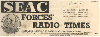 image of SEAC Forces Radio Times masthead