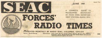 radio history 'SEAC Forces' Radio Times' a monthly program guide.