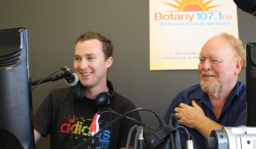 Rhys Tau and John Lehmann at Botany FM