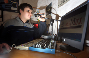 Jayden Barrie broadcasting from his bedroom in Gonville