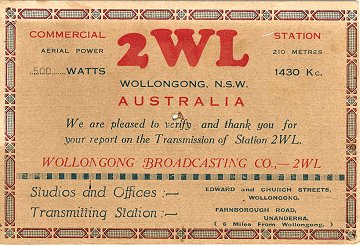 1930's listener card from 2WL