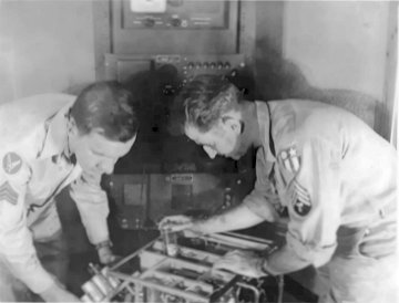 Howard T MacFarland and William F Keating, VU2ZP technicians