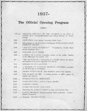 Opening Night program for 2ZB, April 28 1937