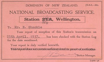 2YD Reception Confirmation Card April 25 1937