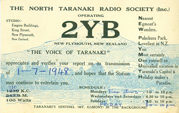 2YB New Plymouth QSL 1948