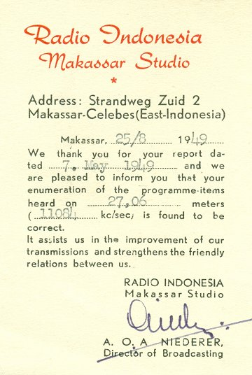 Radio Indonesia QSL 1948