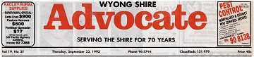 Wyong Shire Advocate masthead