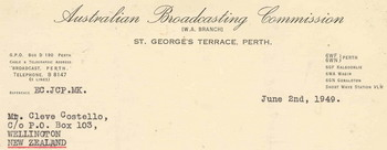 image of Letter from ABC Manager WA details VLX services in 1949. © Cleve Costello Collection, Radio Heritage Collection