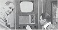 image of Emil Voigt and son Rion Voigt with early TV set
