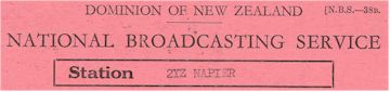 image of Listener reception card from 2YZ Napier