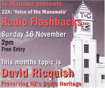 image of Te Manawa flyer promoting the Radio Heritage Foundation lecture