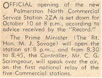 image of report opening of 2ZA in 1938