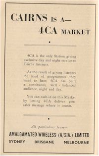 image of ad for Radio Station 4CA Cairns