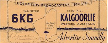 image of 6KG QSL Goldfields 1934