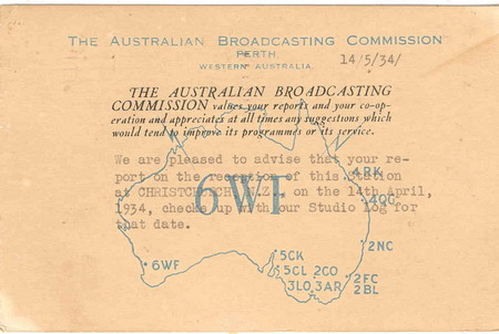 image of Listener confirmation card from 6WF Wanneroo in 1934. 5kW, 690kc, © Eric Shackle Collection, Radio Heritage 