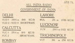 image of Early QSL card for All India Radio issued in 1940 and before