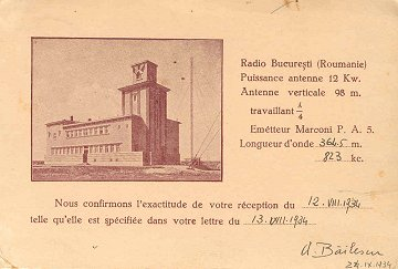 Radio Bucuresti QSL card issued for reception of 823AM in 1934