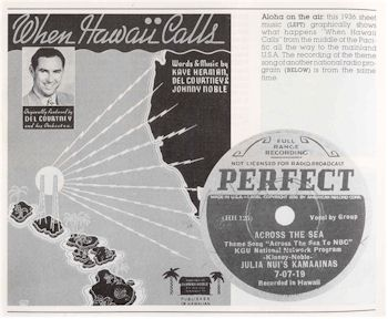 image of sheet music cover When Hawaii Calls