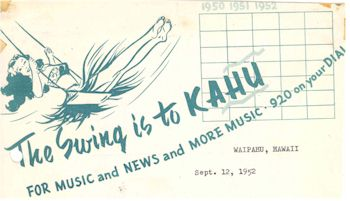 image of Hawaii Radio Station KAHU promotional literature