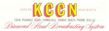 image of Hawaii Radio Station KCCN letterhead