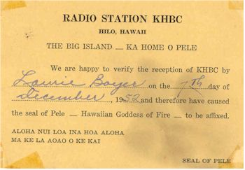 image of Hawaii Radio Station KHBC QSL