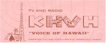 image of Hawaii Radio Station KHVH letterhead