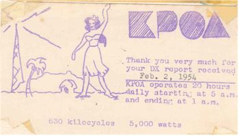 image of Hawaii Radio Station KPOA QSL