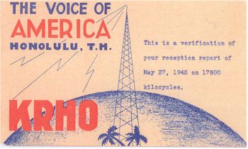 image of Radio Station KRHO Honolulu postcard